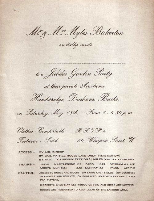 The invitation to the Jubilee Garden Party included directions and a warning about the nature of the roads, as well as one of the first indications of Myles' regard for wildlife and the environment.