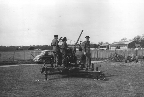 The local Territorial Army Royal Artillery Anti-Aircraft Unit exercised at Denham, tracking the aircraft with their Bofors 40mm Anti-Aircraft Guns.