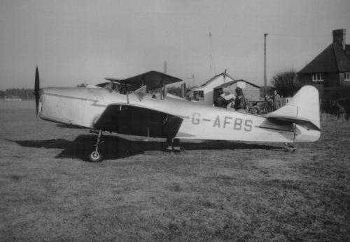 The Air Training Corps awarded scholarships at civilian flying schools in the 1950s. The Denham Flying School used such aircraft as G-AFBS for cadet flying.