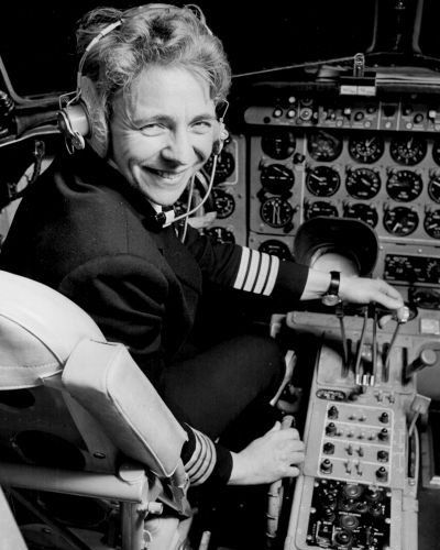 Yvonne in the cockpit of a Dan-Air HS 748 as captain.