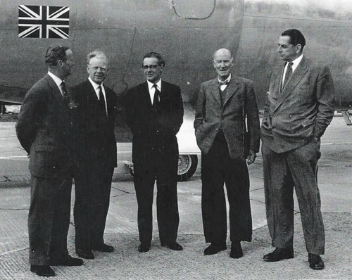 The de Havilland Team on 9 January 1962, test pilot and wartime night fighter ace John Cunningham, de Havilland Propellers Managing Director Harry Sturgeon, de Havilland Executive Director and Chief Engineer J P Phil Smith, Chairman Sir Geoffrey de Havilland, and de Havilland Chief Designer and Technical Director, Charles T Wilkins, all in front of an aircraft which had just made its first flight and was the product of their combined genius, the de Havilland dH.121 Trident.