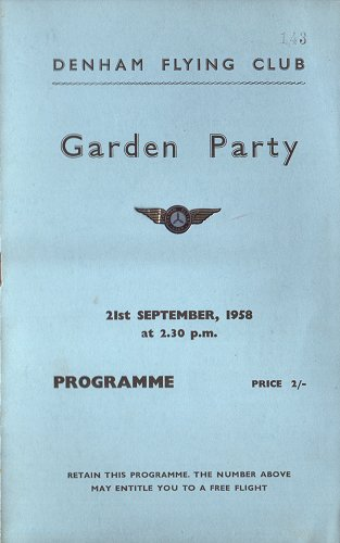 The cover of the Garden Party programme, numbered to win a free flight.