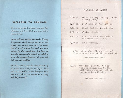 The Garden Party programme, which included a flypast of nine Javelins!