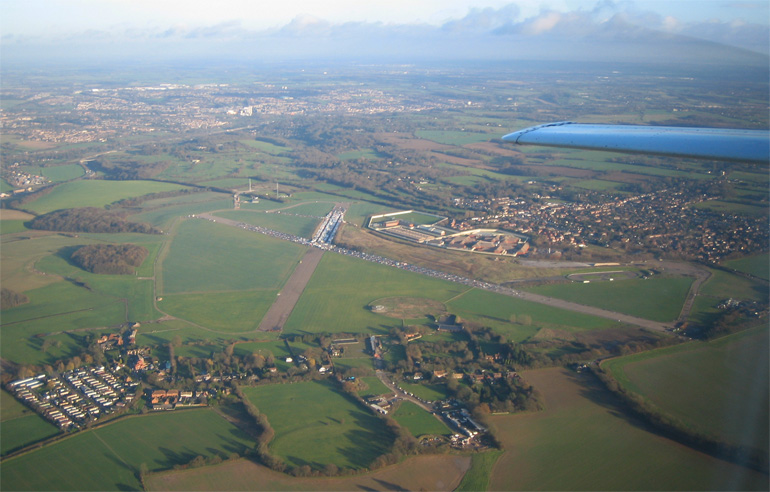A view of Bovingdon disused aerodrome from the air.